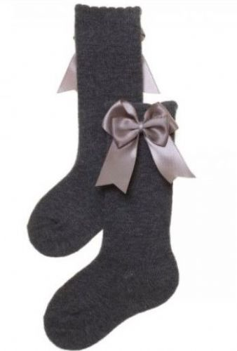 Grey Knee High Double Bow Socks